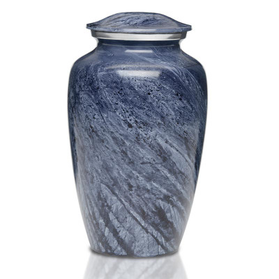 Artisan Blue-Gray Metal Cremation Urn - Adult Urn