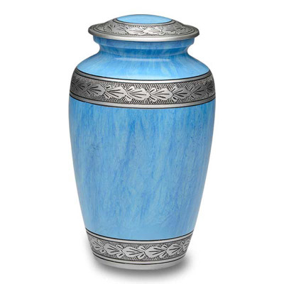 Antique Blue Metal Cremation Urn - Adult Urn