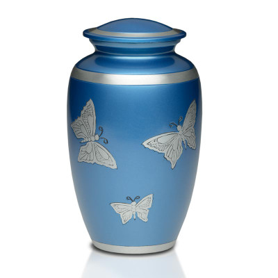 Butterflies in Blue Metal Cremation Urn - Adult Urn