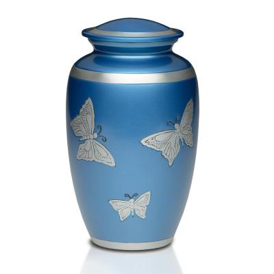 Butterflies in Blue Metal Cremation Urn - Adult Urn