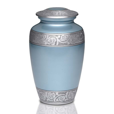 Antique Teal Blue Metal Cremation Urn - Adult Urn