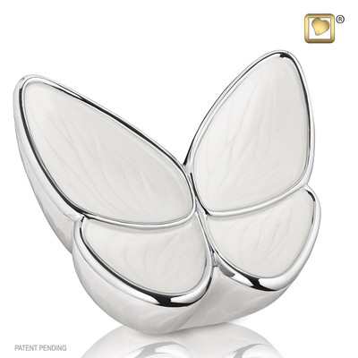 Adult Butterfly Cremation Urn in Pearl White