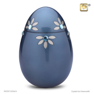 Oval Metal Cremation Urn with Swarovski Crystal Flowers - Adult