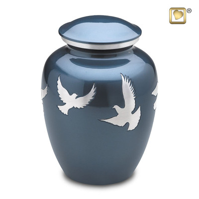 Divine Metal Cremation Urn with Flying Doves - Adult