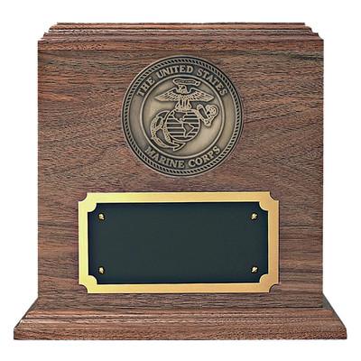 Marine Medallion Walnut Military Urn
