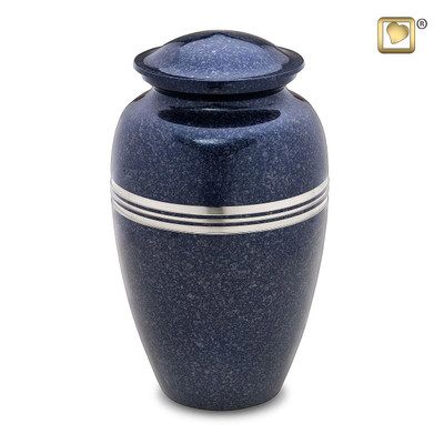 Speckled Indigo Blue Metal Cremation Urn - Standard Adult Urn