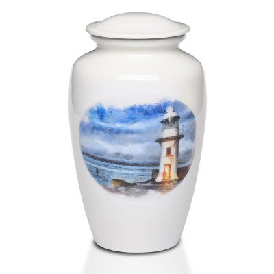 Metal Urn with Hand-Painted Lighthouse Art