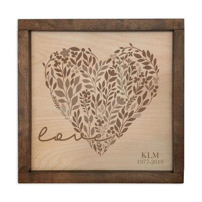 Love with Floral Heart Personalized Plaque Urn