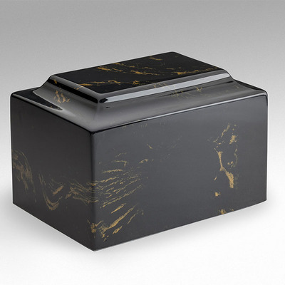 Classic Cultured Marble Urn in Black and Gold