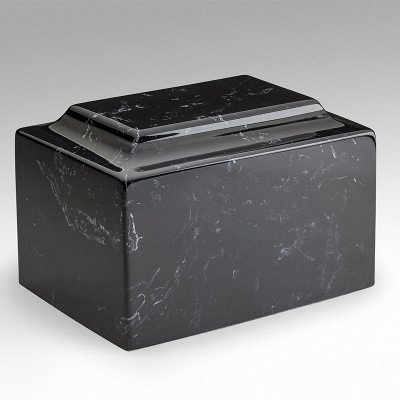 Classic Cultured Marble Urn in Black and White