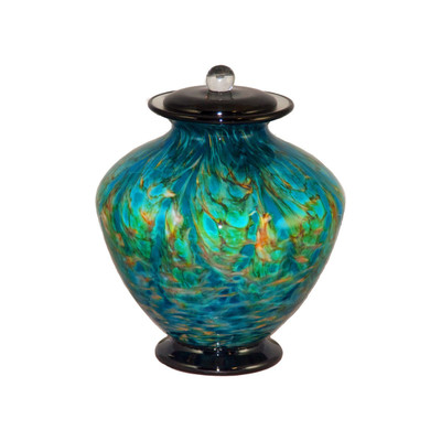 Greco Hand Blown Glass Pet Urn - Aegean