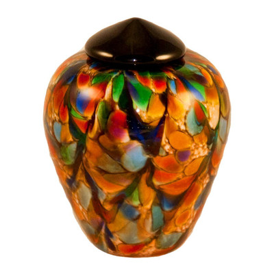 Classic Small Hand Blown Glass Urn - Autumn