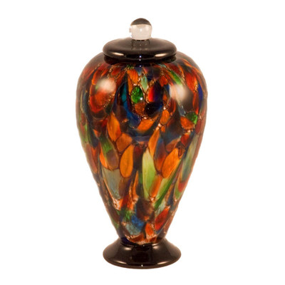 Small Deco Hand Blown Glass Urn - Autumn