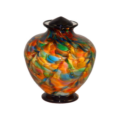 Small Greco Hand Blown Glass Urn - Autumn