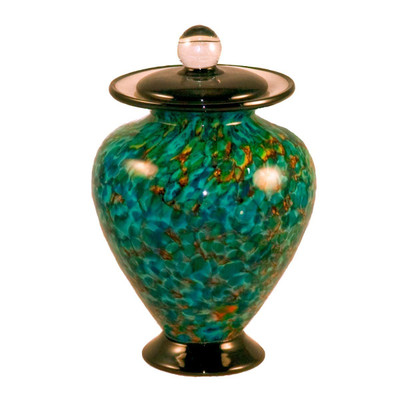 Small Amato Hand Blown Glass Urn - Aegean