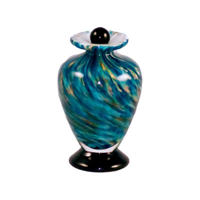 Amato Hand Blown Glass Keepsake Urn - Aegean
