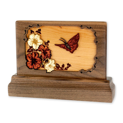 Small Walnut Keepsake Urn with Butterfly