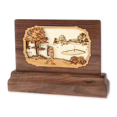 Walnut Keepsake Urn - Golf