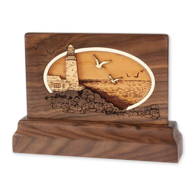 Small Walnut Keepsake Urn - Lighthouse