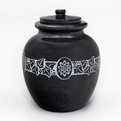 Chrysanthemum Black Marble Cremation Urn