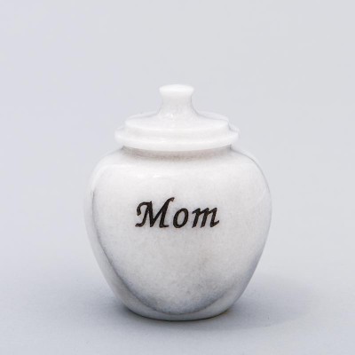 Legacy Marble Keepsake Urn in White with Inscription