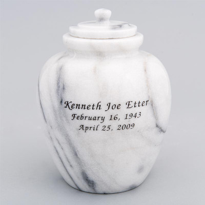 Legacy Youth/Sharing Marble Cremation Urn in White with Inscription