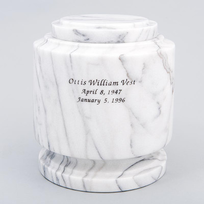 White Estate II Marble Urn with Inscription