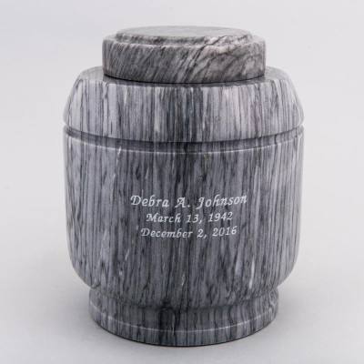 Gray Crest Marble Urn with Inscription