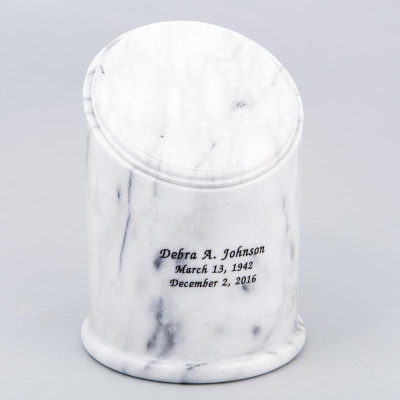 Crown Natural Marble Cremation Urn in White with Inscription