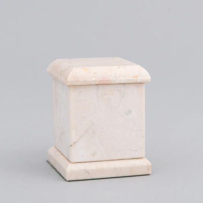 Evermore Memory Square Marble Cremation Urn in Champagne