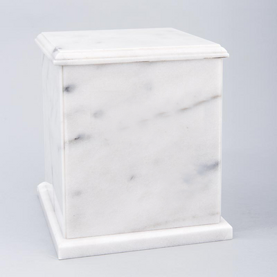Evermore Square Marble Cremation Urn in White