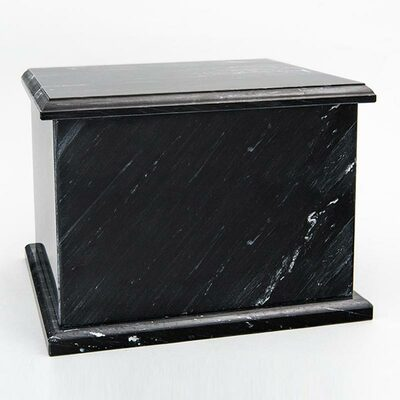 Natural Marble Single Compartment Companion Urn in Black