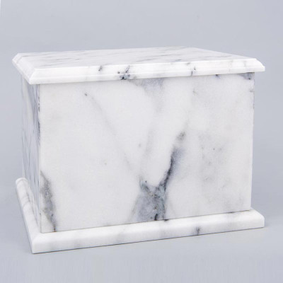 Natural Marble Single Compartment Companion Urn in White