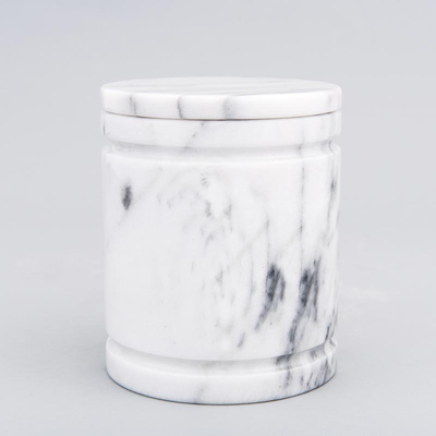 Medium Round Marble Pet Urn in White