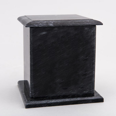 Medium Square Marble Pet Urn in Black