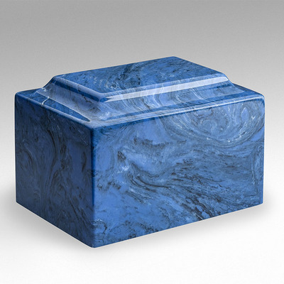 Classic Cultured Marble Urn in Mystic Blue