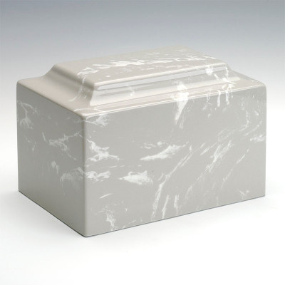 Classic Cultured Marble Urn in Silver Gray