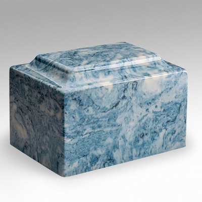 Classic Cultured Marble Urn in Sky Blue