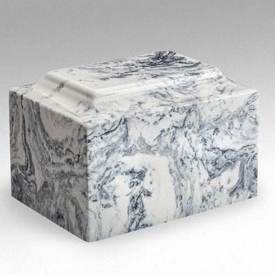 Classic Cultured Marble Urn - White Black