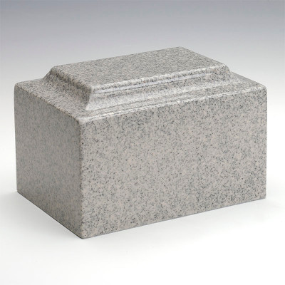 Classic Cultured Granite Urn in Mist Gray
