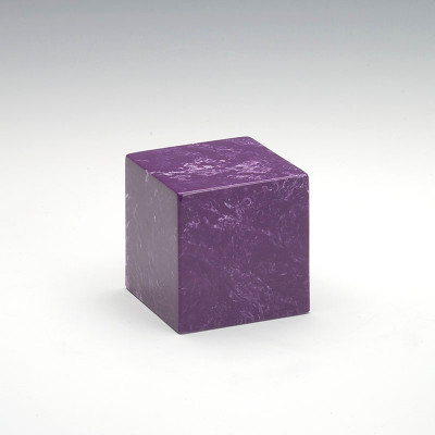 Small Cube Cultured Marble Urn in Amethyst