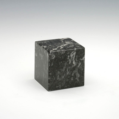 Small Cube Cultured Marble Urn in Ebony