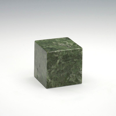 Small Cube Cultured Marble Urn in Emerald