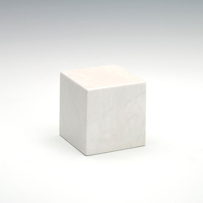 Small Cube Cultured Marble Urn in Glacier White