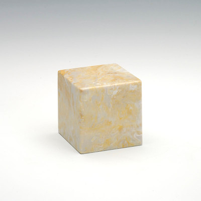 Small Cube Cultured Marble Urn in Gold