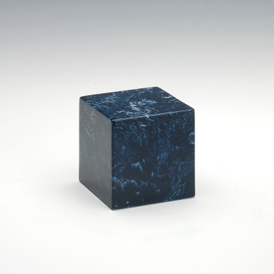Small Cube Cultured Marble Urn in Navy