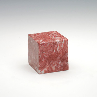 Small Cube Cultured Marble Urn in Rose