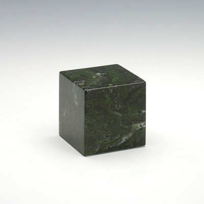 Small Cube Cultured Marble Urn in Verde