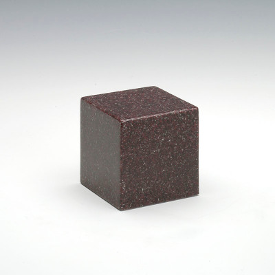 Small Cube Cultured Granite Urn in Vintage Red