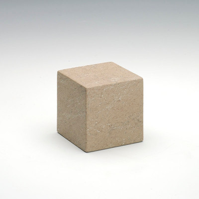 Small Cube Stone-Tone Cultured Marble Urn in Catalina